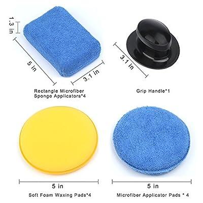 Electop 13 Pcs Car Wax Applicator Pads Kit 5 inch Microfiber Applicator Pads Blue Rectangle Microfiber Sponge Applicators Yellow Soft Foam Waxing Pad with Grip Handle: Automotive