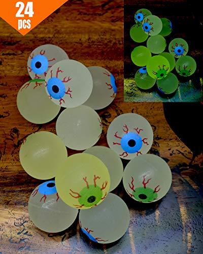Halloween Eyeball Ping Pong Balls (GIFTEXPRESS 24ct, 32MM Glow in The Dark Eyeball/Glow in The Dark Bouncing Ball/Halloween Supplies/ Halloween Treats/Halloween Toys/Toy Eyeball (24 pc)