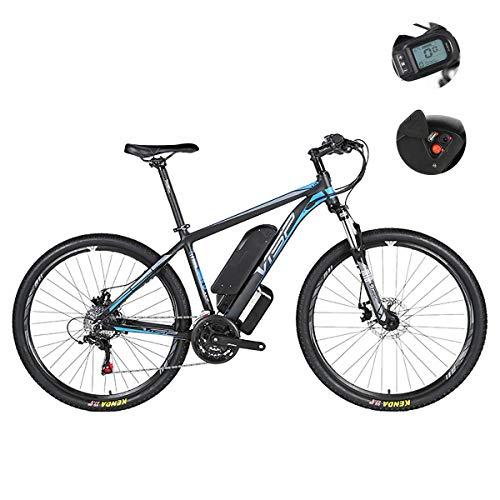 Bicicleta de montaña eléctrica - Freno de disco doble híbrido de 24 velocidades para todas las carreteras, con interfaz de carga USB y medidor inteligente LCD5 de velocidad IP54 a prueba de agua 26 / 27.5 / 29 pulgadas,Blue,48V26IH