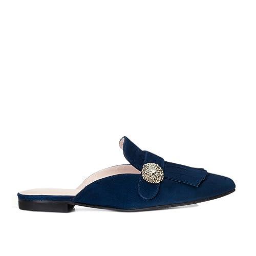 GENNIA Virginia Azul Marino - Mocasines para Mujer de Cuero y con Mini Tacón de 1 cm: Amazon.es: Zapatos y complementos