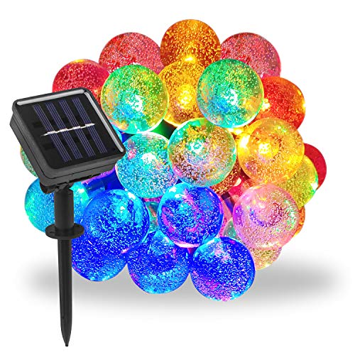 Solar String Lights Outdoor, 21.3ft 30 LED 8 Modes Solar Globe String Lights - Waterproof Multi Color Changing Solar Fairy Lights - Solar Lights Outdoor Decorative for Garden, Patio, Home, Wedding