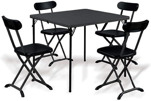 Biacchi Set Tavolo 4 Sedie In Acciaio Pieghevole Antracite Salvaspazio Esterno Horeca Amazon It Fai Da Te