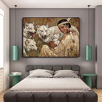 Geiqianjiumai Niña India India con Lobo Pintura al óleo sobre ...
