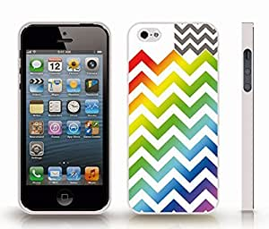 iStar Cases? iPhone 5/5S Case with Chevron Pattern Rainbow Stripe Pattern/ Charcoal Design Stripe , Snap-on Cover, Hard Carrying Case (White)
