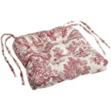 Victoria Park Toile Cushioned Chair Pad, Red