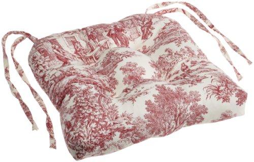 - Ellis Curtain Victoria Park Toile Cushioned Chair Pad, Red