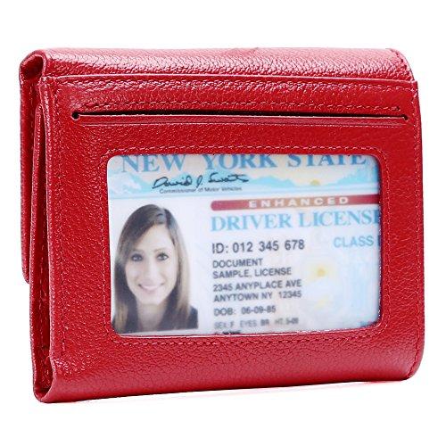 (Kinzd Women Trifold Wallet RFID Blocking Wallet Genuine Leather Credit Card Holder)