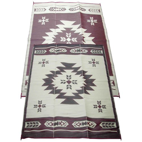 Fireside Patio Mats Navajo Breeze Burgundy And Beige 9 ft. x