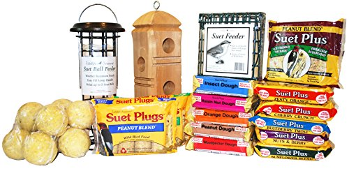 Ultimate Suet Pack for Wild Birds with 30 Items, Suet Cakes, Suet Feeders, Suet Balls, and Suet Plugs