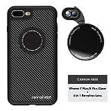 Ztylus Designer Revolver M Series Camera Kit: 6 in 1 Lens with Case for iPhone 7 Plus/8 Plus - 2X Telephoto Lens, Macro, Super Macro Lens, Wide Angle Lens (Carbon Fiber)