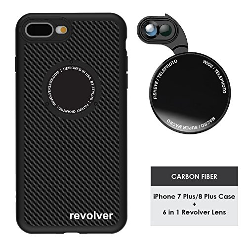- Ztylus Designer Revolver M Series Camera Kit: 6 in 1 Lens with Case for iPhone 7 Plus / 8 Plus, iPhone Lens Kit - 2X Telephoto Lens, Macro, Super Macro Lens, Wide Angle Lens (Carbon Fiber)