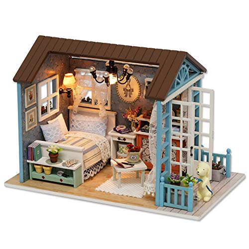 Decdeal DIY Christmas Miniature Dollhouse Kit Realistic Mini 3D Wooden House Room Craft Furniture LED Lights Children's Day Birthday Gift Christmas Decoration (Refined Version, Leisure -