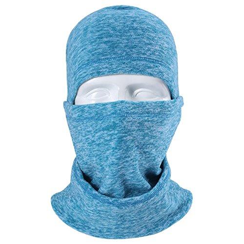 JIUSY Multifunctional Fleece Hood Balaclava Windproof Neck Warmer Face Mask Adjustable with Drawstring for Ski Snowboard Hunting Winter Outdoor Sports RZ-K-A-07 Lake Green