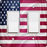 Rikki Knight 2675 Double Rocker United States of America Usa Flag Design Light Switch Plate