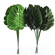 Lopkey Fake Silk Tropical Palm Leaves Artificial Turtle Leaf Green Plant,10pcs