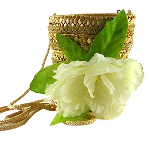 Regalo Mini Paja Lindo Nuevo Crema Pequeno bolsas De Hombro Crossbody Color Bolso Flor Tejer Fq5HHxZw