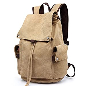 Huluwa Men's Backpack Canvas Vintage Backpack Men Rucksack Travel Bag School Bag Computers Laptop Backpack, Khaki