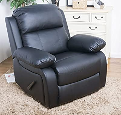 Merax Best-selling Plush Black Leather Recliner [Small Size]