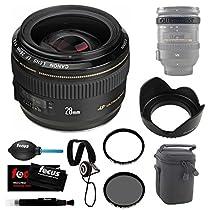 Canon EF 28mm f/1.8 USM Wide Angle Lens for Canon SLR Cameras + Lens Case (Black) + Accessory Kit
