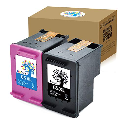 H&BO TOPMAE Compatible Ink Cartridge Replacement for HP 65XL Used for HP Deskjet 3758 3752 3720 3721 3723 3724 3730 3732 3755 2655 2624 2622 Printers (1 Black +1 Tri-Color)