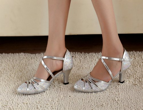 PU Salsa Pointed M Toe UK High Pumps Leather Latin Glitter 8 QJ6134 MINITOO Heel Strappy Silver Ballroom Womens Tango Dance 0Cn1Aq