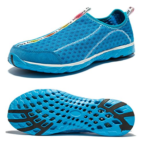 WOTTE Men's Quick Drying Aqua Slip On Water Shoes (8 D(M) US, Blue)