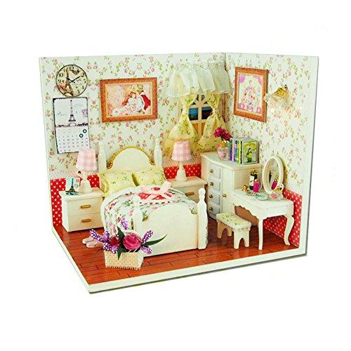 DIYプリンセス部屋木製ドールハウスミニチュア家具キットDolls House、LEDライトクラフトギフト