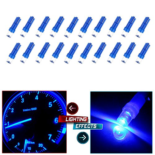 CCIYU 20 Pack Blue T5 Instrument Cluster Panel Gauge Dash LED Bulb light 17 57 37 73 74