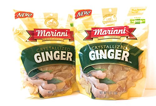 Mariani Crystallized Ginger Slices Multi-Pack: Two 6-ounce Resealable Packages of Dried Crystalized Ginger - Delicious and GREAT VALUE!