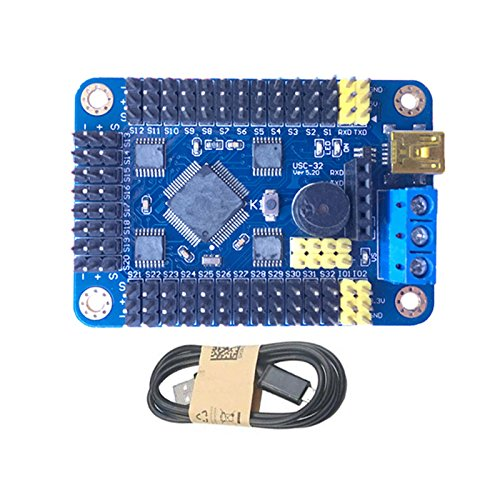 (Quickbuying For Arduino USB 32CH Servo Control Board PS2 Controller Wireless Double Vibration Handle For Robot DIY Gifts )
