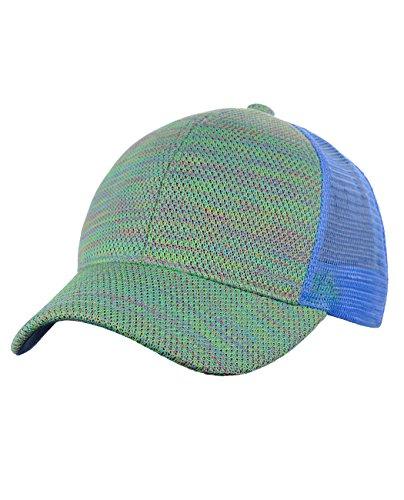 C.C 80's Multicolor Front Panel Mesh Back Adjustable Precurved Baseball Cap Hat, Light Blue
