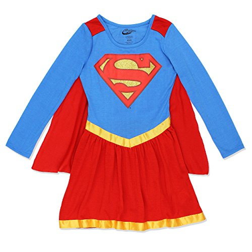 DC Comics Supergirl Satin Edged Nightgown With Cape for Big Girls (Supergirl Dress)