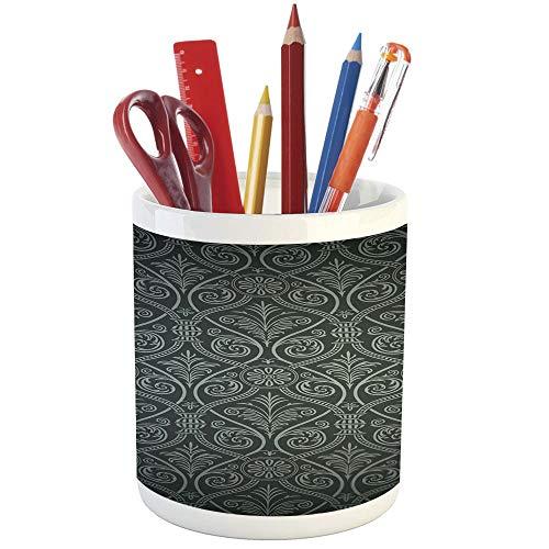 Pencil Pen Holder,Black,Printed Ceramic Pencil Pen Holder for Desk Office Accessory,Antique Baroque Damask Pattern Gothic Curvy Vintage Victorian Venetian Style Decorative ()