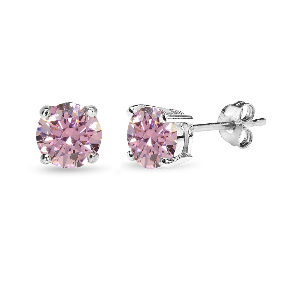 Sterling Silver 6mm Fancy Pink Round Solitaire Stud Earrings Made with Swarovski Zirconia