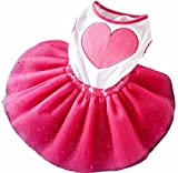 Cheap HP95 Small Size Dog Dress,Puppy Pet Princess Tutu Dress Dog Wedding Dress with Peony for Dog Cat (XS, Hot Pink)