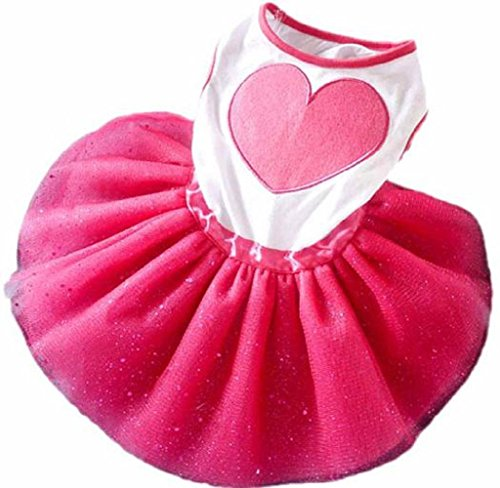 HP95 Small Size Dog Dress,Puppy Pet Princess Tutu Dress Dog Wedding Dress with Peony for Dog Cat (L, Hot Pink) (Peony Tutu Dress)