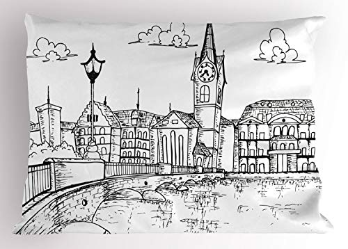 Ambesonne Switzerland Pillow Sham, Sketch Style Zurich Town with Bridge and Famous Buildings Monochrome, Decorative Standard King Size Printed Pillowcase, 36