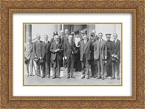President Coolidge and Herbert Hoover posed, standing, with American Red Cross group 24x16 Double Matted Gold Ornate Framed Art - Galleria Hoover
