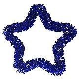 Hemlock Shining Christmas Decoration, 33cm Christmas Tree Wreath Wall Hanging Ornament Xmas Party Decals (Blue, Star-33cm)