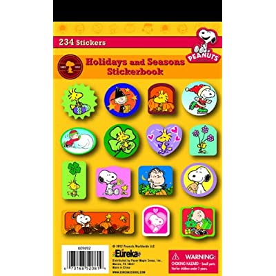 Eureka Back To School Classroom Supplies Seasonal and Holiday Peanuts Sticker Book, 234 pcs: Office Products