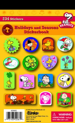 Eureka Back To School Classroom Supplies Seasonal and Holiday Peanuts Sticker Book, 234 pcs for $<!--$0.81-->
