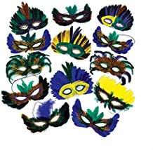 Fun Express Feather Mardi Gras Masks Costume Party Masquerade (24 Pack)