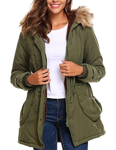 498b661a8 Beyove Women's Warm Winter Faux Fur Lined Drawstring Parkas Anoraks Hooded  Military Jacket Coats
