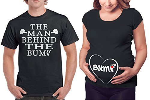Matching Maternity Couple Shirts - The Man Behind The Bump & Belly Bump T Shirt - Cool & Cute Pregnancy Couples Clothes - His and Hers Funny Pregnant Tees & Outfits Novelty Fabric Maternity Skirt