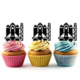 TA0424 Spaceship Launch pad Silhouette Party Wedding Birthday Acrylic Cupcake Toppers Decor 10 pcs