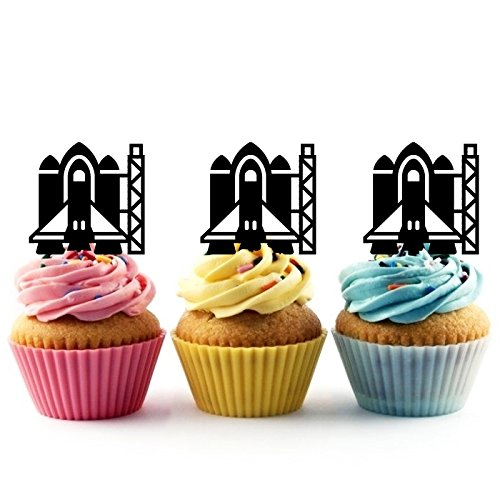 TA0424 Spaceship Launch pad Silhouette Party Wedding Birthday Acrylic Cupcake Toppers Decor 10 pcs by jjphonecase