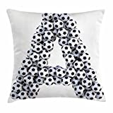 Ambesonne Letter A Throw Pillow Cushion Cover, Realistic Soccer Balls in Form of Capital A Sports Play League Competition Theme, Decorative Square Accent Pillow Case, 28 X 28 inches, Black White