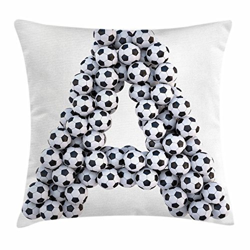 Ambesonne Letter A Throw Pillow Cushion Cover, Realistic Soccer Balls in Form of Capital A Sports Play League Competition Theme, Decorative Square Accent Pillow Case, 28 X 28 inches, Black White by Ambesonne