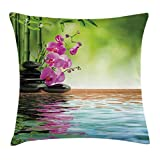Ambesonne Spa Decor Throw Pillow Cushion Cover, Orchid Flower Stone Oriental Culture Spirituality Wellness Tropical Holiday, Decorative Square Accent Pillow Case, 16 X 16 inches, Green and Purple