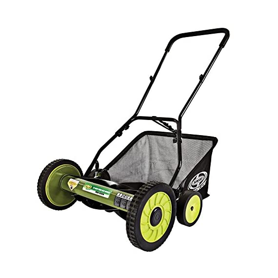 Sun Joe Manual Reel Mower 1 Steel frame and blades 18 inch wide cutting path 9-position height control